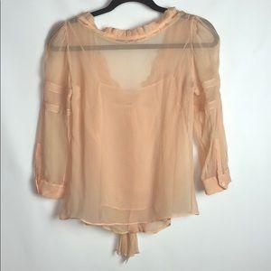 a4cb8bc6f25e62 Prada Tops - Prada Peach Silk Sheer Layered Top